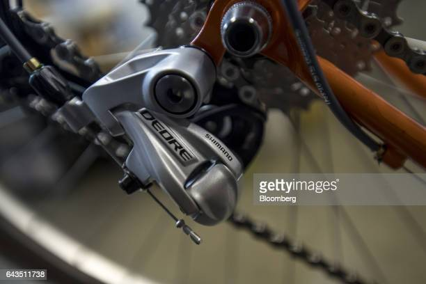 Shimano Inc. Rear derailleur is seen on a bike being assembled at the Rivendell Bicycle Works facility in Walnut Creek, California, U.S., on Friday,...