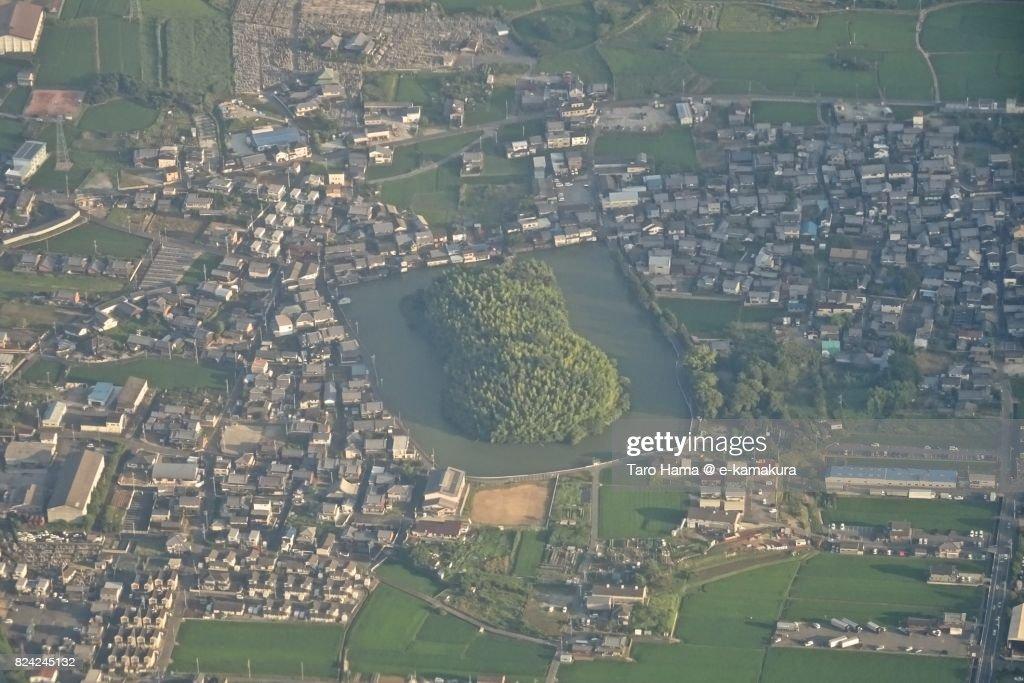 Shimanoyama Kojun (ancient grave) in Koryo town in Nara prefecture daytime aerial view from airplane : ストックフォト