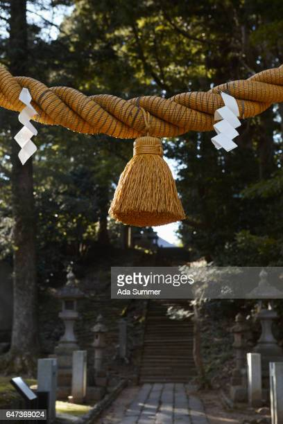 Shimenawa at a shrine in the mountains of Akita