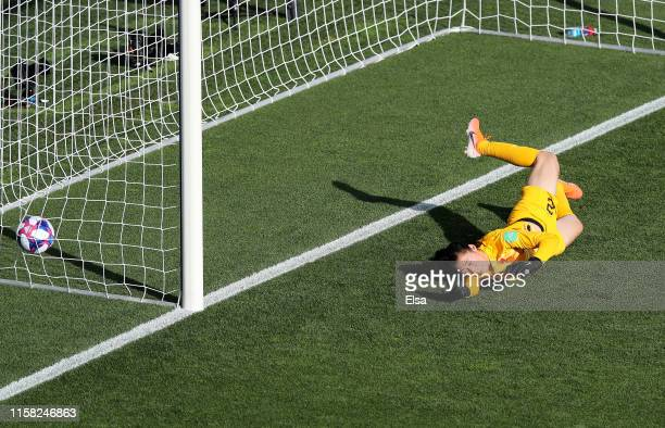Shimeng Peng of China fails to save as Aurora Galli of Italy scores her team's second goal during the 2019 FIFA Women's World Cup France Round Of 16...