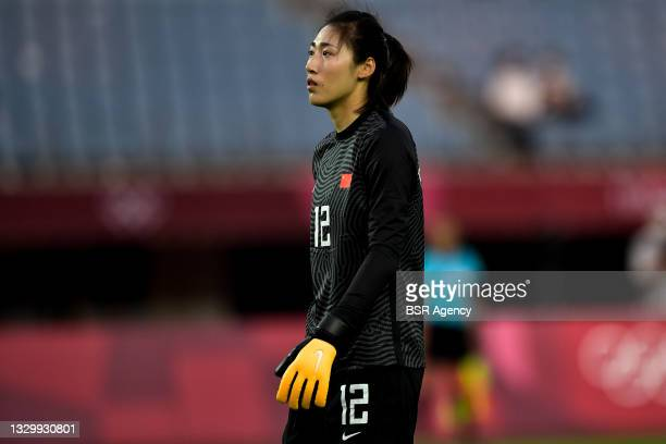 Shimeng Peng of China looks dejected after conceding her sides third goal during the Tokyo 2020 Olympic Football Tournament match between China and...