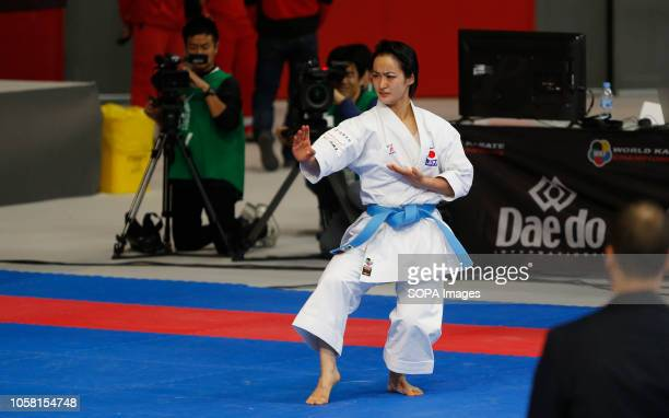 Shimizu Kiyou from Japan seen in action during the women's Karate Kata competition of the 24nd Karate World Championships at the WiZink Centre sport...
