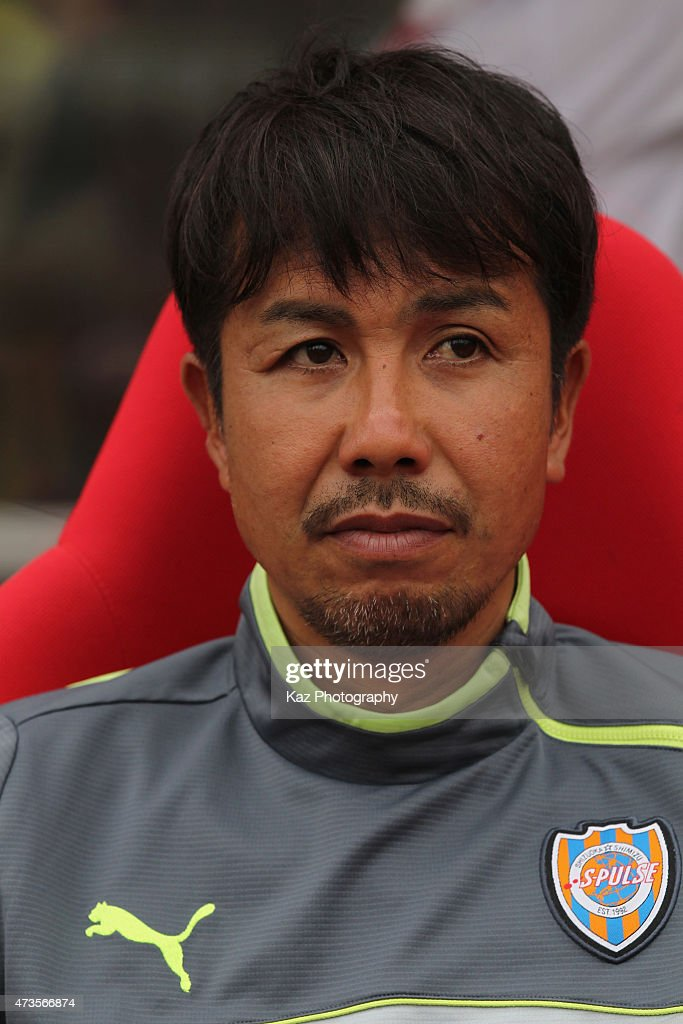 Shimizu S-Pulse head coach Katsumi Oenoki looks on prior to the J.League match between Shimizu S-Pulse and Yokohama F.Marinos at IAI Stadium Nihondaira on May 16, 2015 in Shizuoka, Japan.