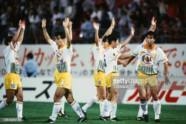 Shimizu S-Pulse players applaud fans after their 2-1 victory in the J.League Suntory Series match between Kashima Antlers and Shimizu S-Pulse at the...