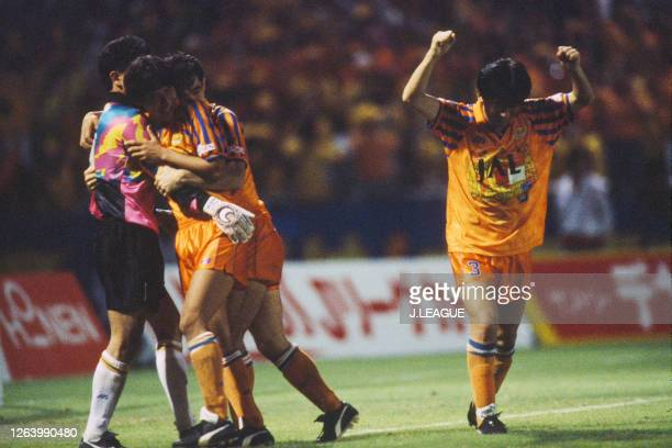 Shimizu S-Pulse players celebrate after their victory through the penalty shootout during the J.League Suntory Series match between Shimizu S-Pulse...