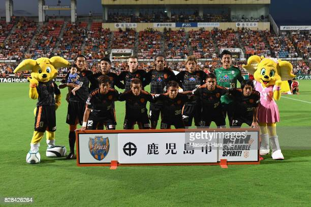 Shimizu SPulse players line up for the team photos prior to the JLeague J1 match between Shimizu SPulse and Cerezo Osaka at IAI Stadium Nihondaira on...