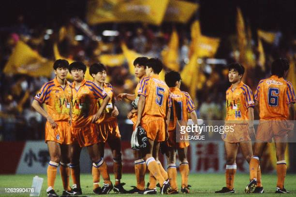 Shimizu S-Pulse players react after their victory through the penalty shootout during the J.League Suntory Series match between Shimizu S-Pulse and...