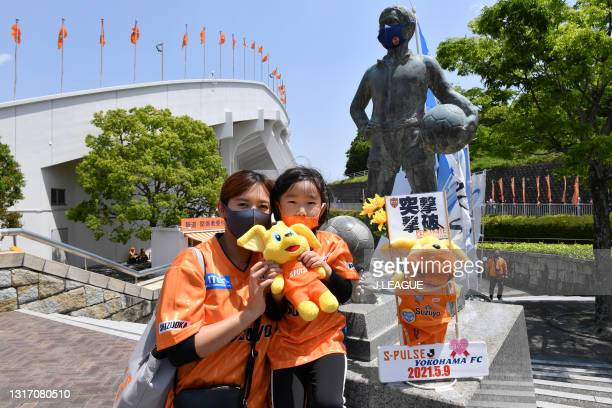 Shimizu S-Pulse supporters are seen outside the stadium prior to the J.League Meiji Yasuda J1 match between Shimizu S-Pulse and Yokohama FC at the...