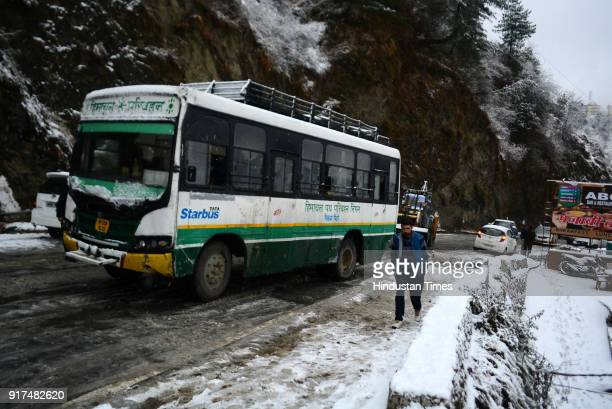 Shimla and its nearby areas experienced intermittent spell of rain and snow since morning on February 12 2018 in Shimla India