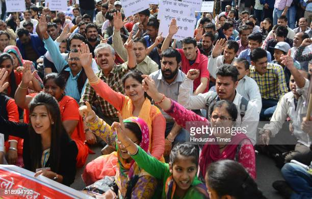 Shimla Nagrik Sabha stage a protest at Mall road after the death of an accused of rape and murder of teenage girl in police custody on July 19 2017...