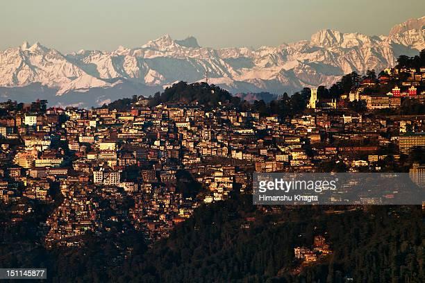 shimla sunset cityscape, himachal pradesh - shimla stock pictures, royalty-free photos & images