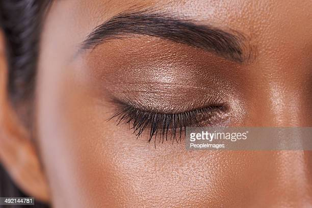 shimmer and shine - eye make up stock photos and pictures