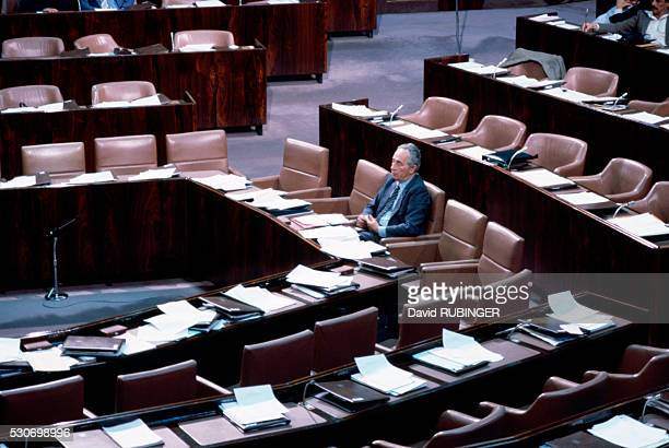 Shimon Peres in the Knesset December 1985