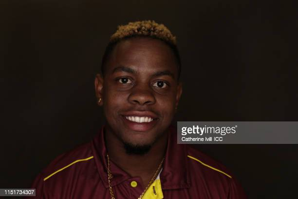 Shimron Hetmeyr of the West Indies poses for a portrait prior to the ICC Cricket World Cup 2019 at the Radisson Blu Hotel on May 25 2019 in Bristol...