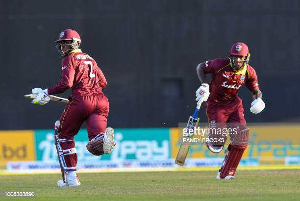 Shimron Hetmyer and Rovman Powell of West Indies 100 partnership during the 2nd ODI match between West Indies and Bangladesh at Guyana National...