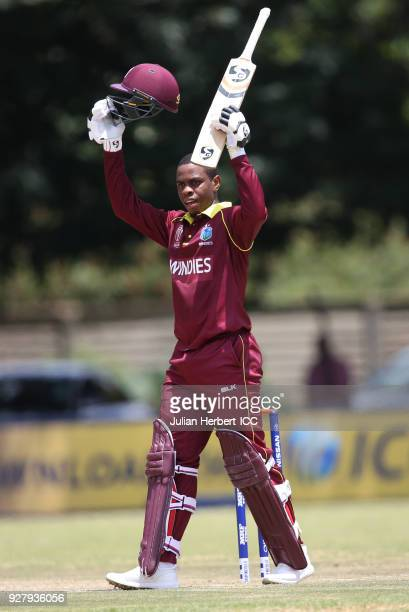 Shimron Hetmyer of The West Indies acknowledges his century during The ICC Cricket World Cup Qualifier between The West Indies and The UAE at The Old...