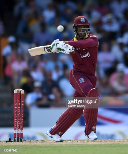 Shimron Hetmyer of the West Indies bats during the 1st One Day International match between the West Indies and England at Kensington Oval on February...