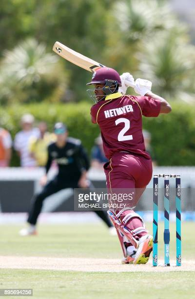 Shimron Hetmyer of the West Indies bats during the first ODI cricket match between New Zealand and the West Indies at Cobham Oval in Whangarei on...