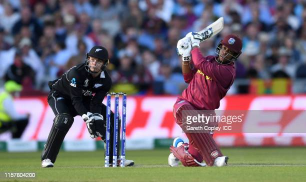 Shimron Hetmyer of the West Indies bats during the Group Stage match of the ICC Cricket World Cup 2019 between West Indies and New Zealand at Old...