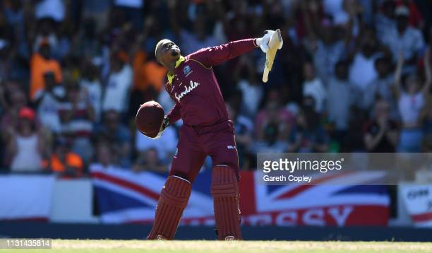 Shimron Hetmyer of the West Indies celebrates reaching his century during the 2nd One Day International match between the West Indies and England at...