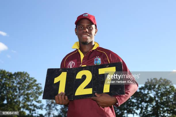 Shimron Hetmyer of The West Indies displaying his total runs scored in The ICC Cricket World Cup Qualifier between The West Indies and The UAE at The...