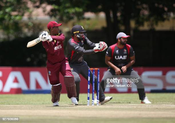Shimron Hetmyer of The West Indies in action during The ICC Cricket World Cup Qualifier between The West Indies and The UAE at The Old Hararians...