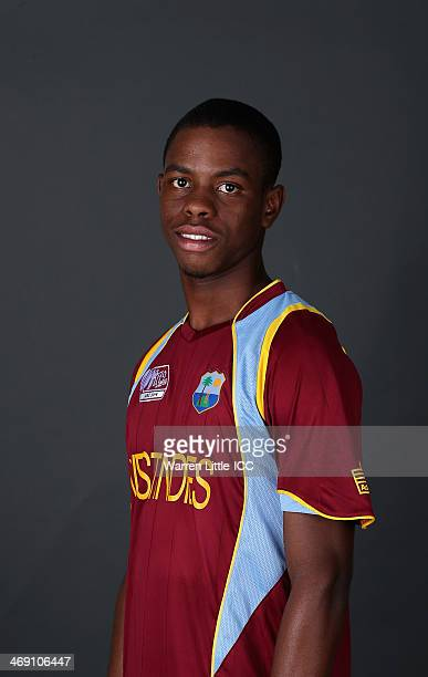Shimron Hetmyer of the West Indies poses for a portrait ahead of the ICC U-19 Cricket World Cup at the ICC offices on February 11, 2014 in Dubai,...