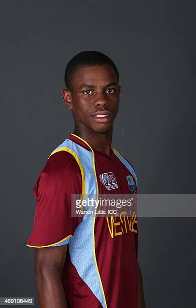 Shimron Hetmyer of the West Indies poses for a portrait ahead of the ICC U19 Cricket World Cup at the ICC offices on February 11 2014 in Dubai United...