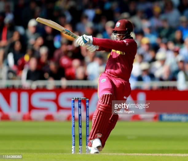 Shimron Hetmyer of the West Indies pulls the ball during the Group Stage match of the ICC Cricket World Cup 2019 between Australia and the West...