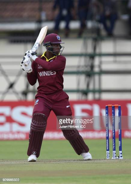 Shimron Hetmyer of The West Indies scores runs during The ICC Cricket World Cup Qualifier between The West Indies and Ireland at The Harare Sports...