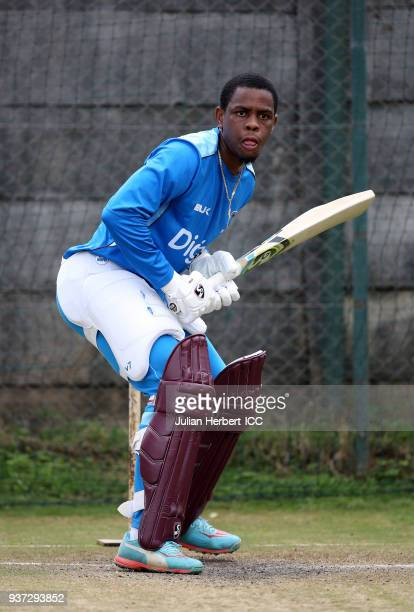 Shimron Hetmyer of The West Indies takes part in a training session during The ICC Cricket World Cup Qualifier at The Harare Sports Club on March 24...