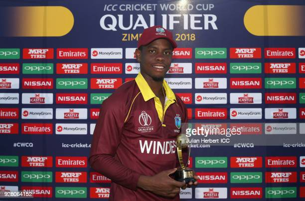 Shimron Hetmyer of The West Indies with the Man of The Match award after The ICC Cricket World Cup Qualifier between The West Indies and The UAE at...