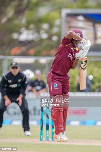 Shimron Hetmyer of West Indies bats during the first match in the One Day International series between New Zealand and the West Indies at Cobham Oval...