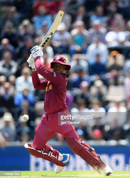 Shimron Hetmyer of West Indies bats during the Group Stage match of the ICC Cricket World Cup 2019 between England and West Indies at The Hampshire...