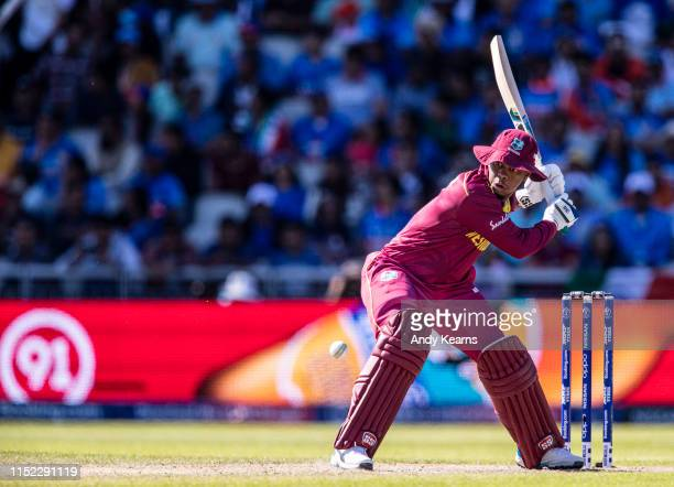 Shimron Hetmyer of West Indies batting during the Group Stage match of the ICC Cricket World Cup 2019 between West Indies and India at Old Trafford...