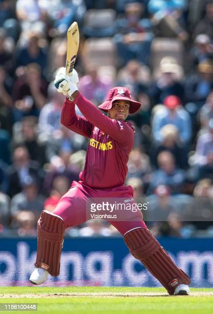 Shimron Hetmyer of West Indies batting during the Group Stage match of the ICC Cricket World Cup 2019 between England and the West Indies at The...