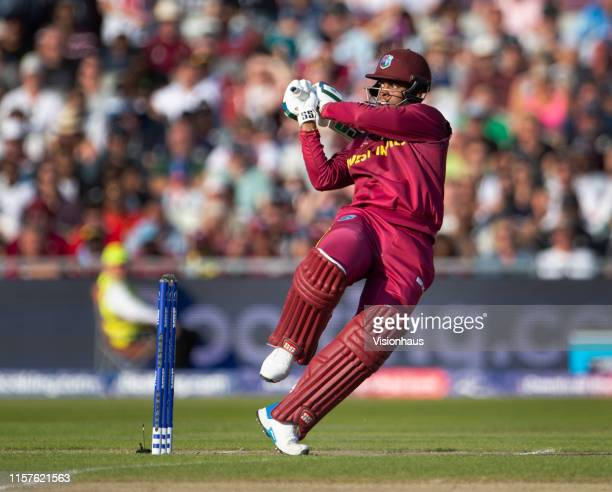 Shimron Hetmyer of West Indies batting during the Group Stage match of the ICC Cricket World Cup 2019 between West Indies and New Zealand at Old...
