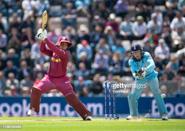 Shimron Hetmyer of West Indies batting with Joe Buttler keeping wicket during the Group Stage match of the ICC Cricket World Cup 2019 between England...