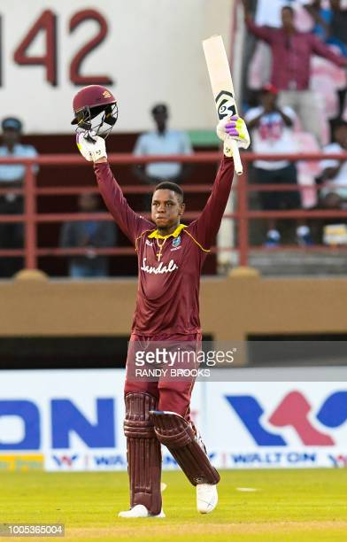 Shimron Hetmyer of West Indies celebrates his century during the 2nd ODI match between West Indies and Bangladesh at Guyana National Stadium...