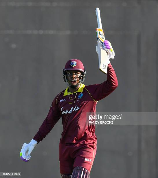 Shimron Hetmyer of West Indies celebrates his half century during the 2nd ODI match between West Indies and Bangladesh at Guyana National Stadium...