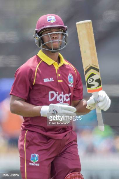 Shimron Hetmyer of West Indies during the first match in the One Day International series between New Zealand and the West Indies at Cobham Oval on...