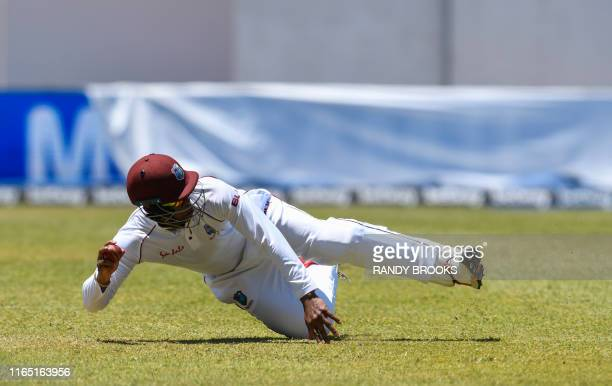 Shimron Hetmyer of West Indies fields during day 2 of the 2nd Test between West Indies and India at Sabina Park, Kingston, Jamaica, on August 31,...