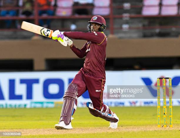 Shimron Hetmyer of West Indies hits 4 during the 2nd ODI match between West Indies and Bangladesh at Guyana National Stadium Providence Guyana on...
