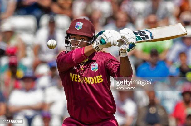 Shimron Hetmyer of West Indies hits out during the Group Stage match of the ICC Cricket World Cup 2019 between Afghanistan and West Indies at...