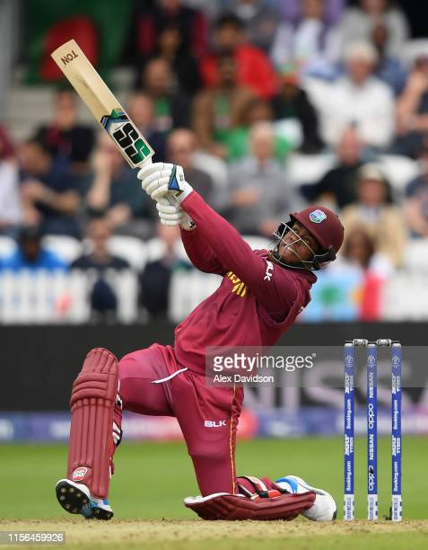 Shimron Hetmyer of West Indies hits out during the Group Stage match of the ICC Cricket World Cup 2019 between West Indies and Bangladesh at The...