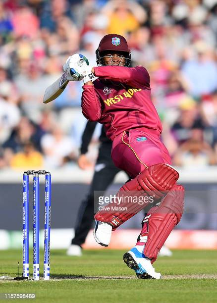 Shimron Hetmyer of West Indies in action batting during the Group Stage match of the ICC Cricket World Cup 2019 between West Indies and New Zealand...