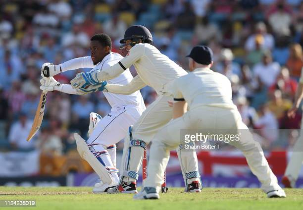 Shimron Hetmyer of West Indies plays a shot during Day One of the First Test match between England and West Indies at Kensington Oval on January 23,...