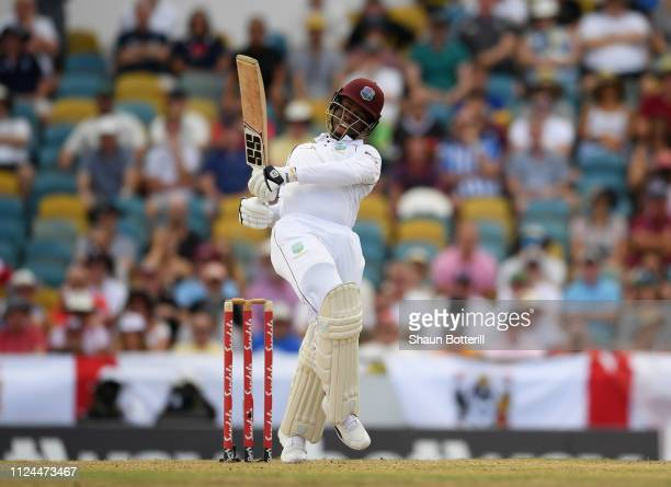 Shimron Hetmyer of West Indies plays a shot during Day Two of the First Test match between England and West Indies at Kensington Oval on January 24...