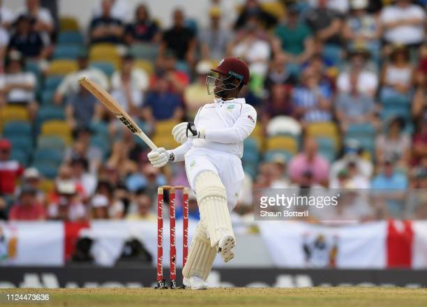 Shimron Hetmyer of West Indies plays a shot during Day Two of the First Test match between England and West Indies at Kensington Oval on January 24,...