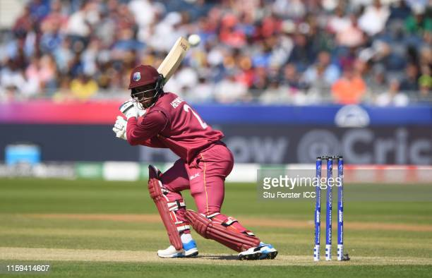 Shimron Hetmyer of West Indies plays a shot during the Group Stage match of the ICC Cricket World Cup 2019 between Sri Lanka and West Indies at...